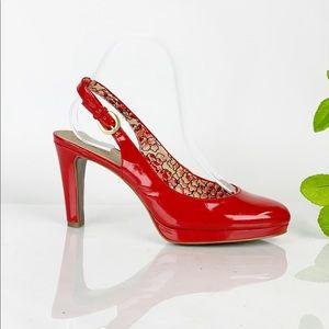 Tahari Red Patent Leather SlingBack Platform Heel